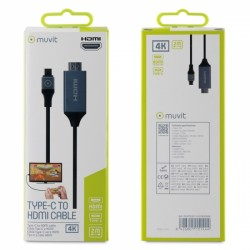 MUVIT CONNECT ADAPTER CABLE TYPE C TO HDMI MALE 2m